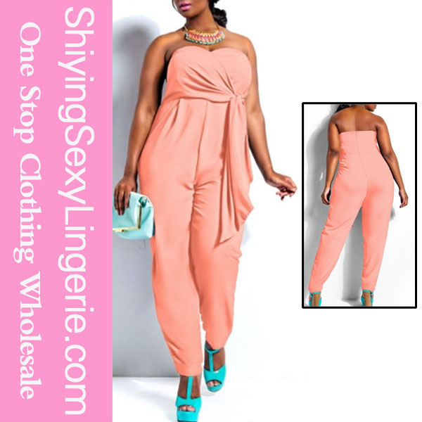 womens clothing fall 2015 Pink Plus Size Strapless jumpsuit adult