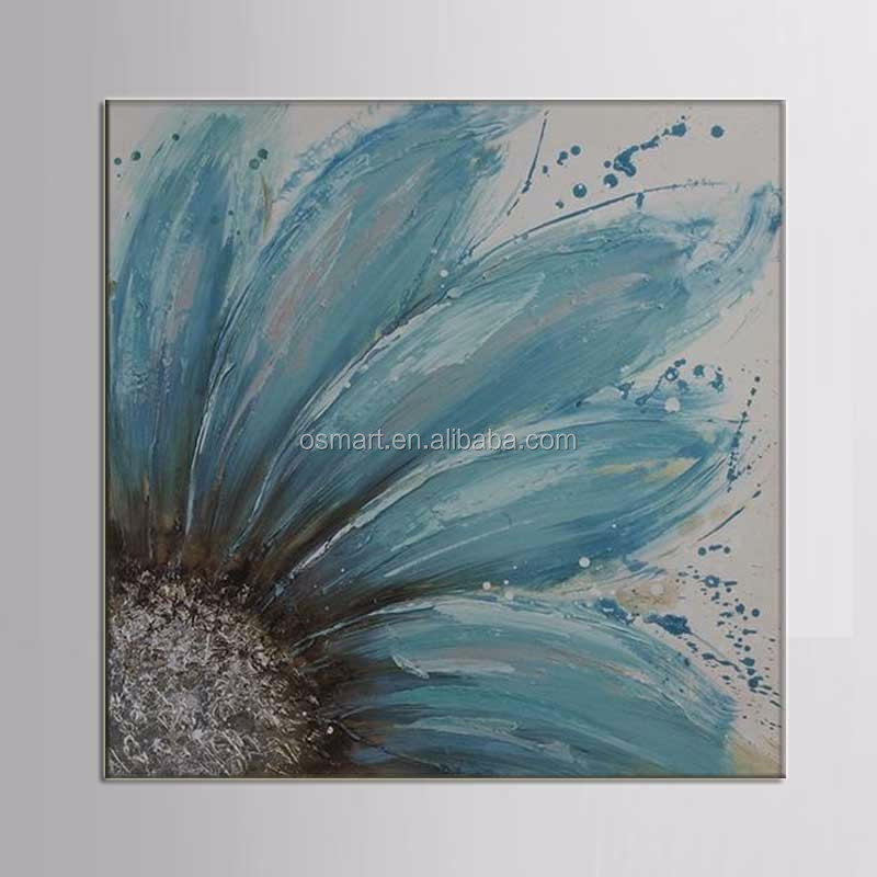 Beautiful yellow chrysanthemum huge bright blue family classic decor 100% handmade decoration oil painting in canvas
