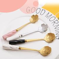 Creative stirring golden rose Mug flower milk tea coffee flower spoon with ceramic marble handle
