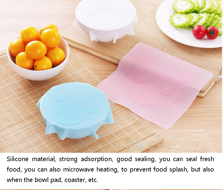 Reusable stretchable bear pattern keep saran fresh flavour best food fresh wrap