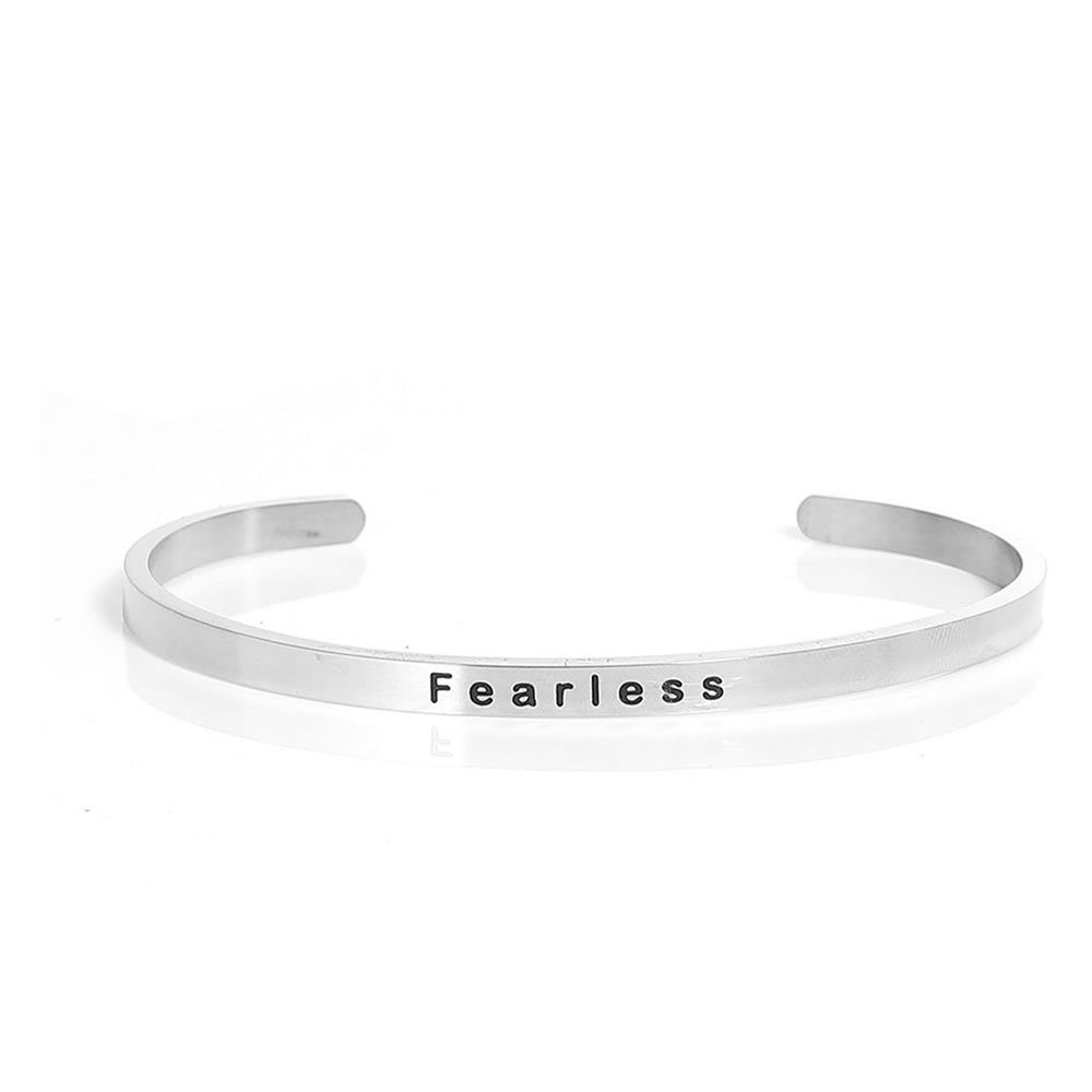 SEXY SPARKLES Stainless Steel Fearless Positive Quotes Energy Open Cuff Bangle Bracelet
