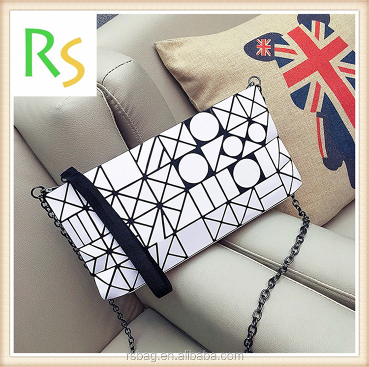New arrival Factory wholesale price lady fashion handbag pu leather handbag tote bag geometric clutch bag