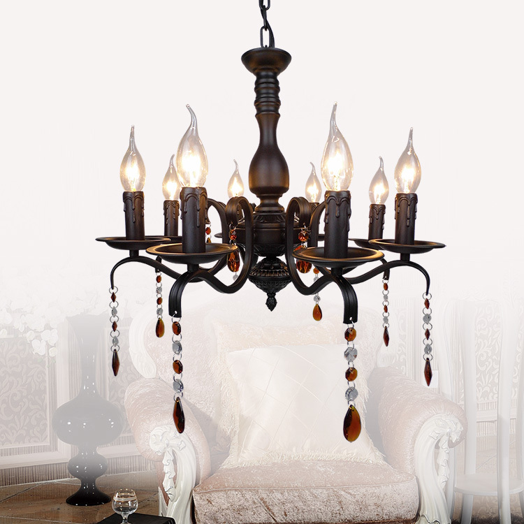 American white iron chandelier with crystal simple creative LED Light chandelier iron living room bedroom restaurant iron lamps