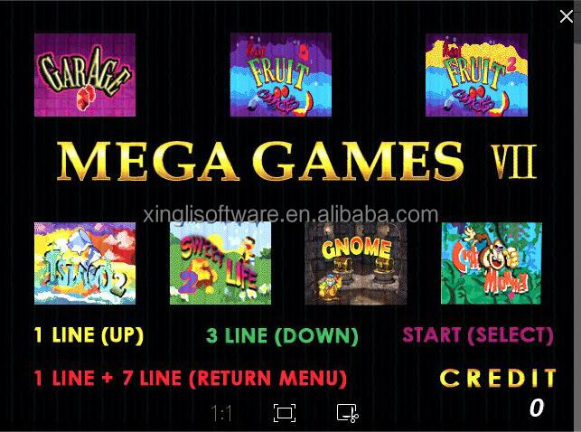mega game 7 in 1 slot game board