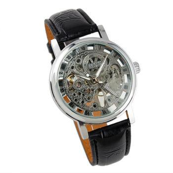 new men s black leather luxury skeleton dial hand wind up new men s black leather luxury skeleton dial hand wind up mechanical wrist watch