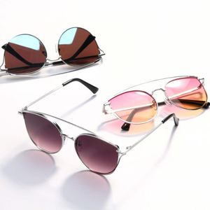 2018 wholesale latest style stainless steel frame high quality mirror sunglasses
