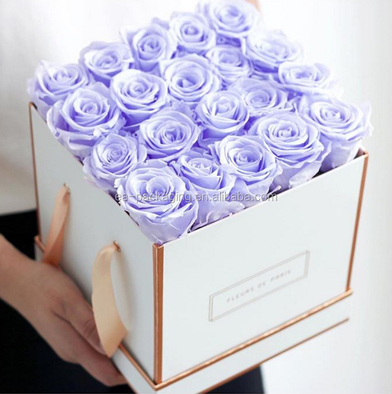 2018 Square flower box/preserved flower box with rose gold logo