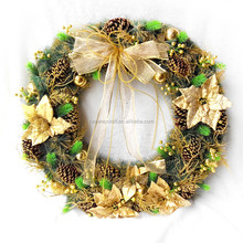 Golden Flowers Bows Evergreen Hydrangea Christmas Party Wreath