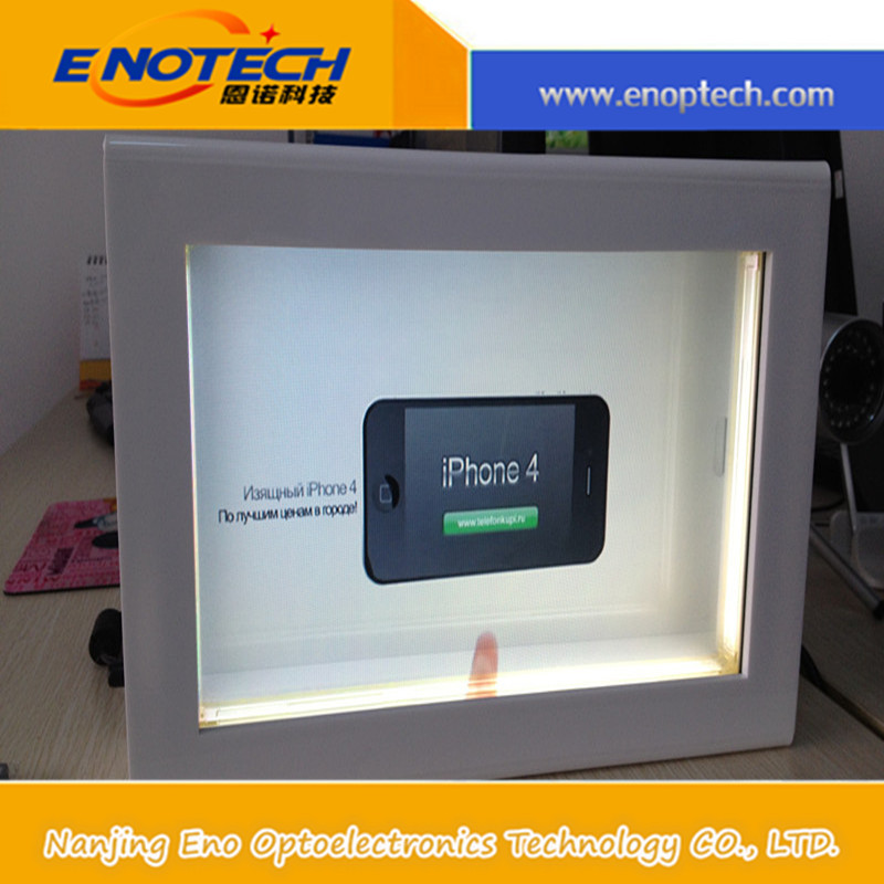 "22"" transparent LCD display box for advertising, transparent showcase for iphone5 display.epaper display,wine"