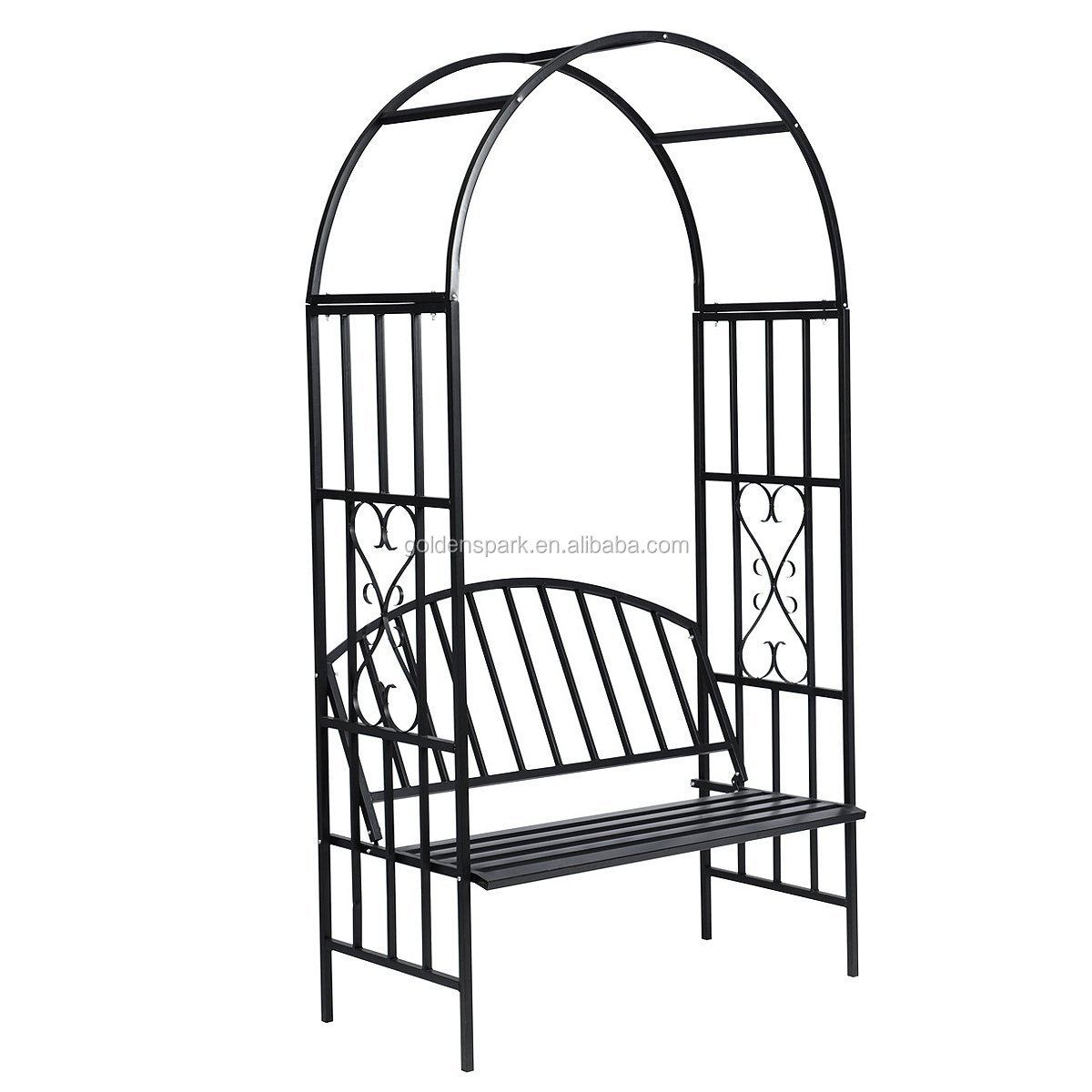 Metal Garden Rose Arch with Bench Patio Arbour Pergola Plants Climbing Support