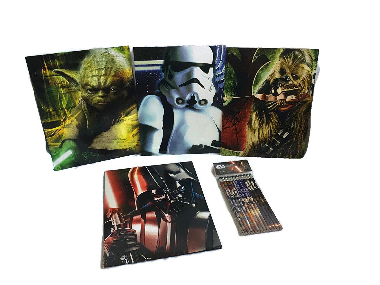 Star Wars School Supply Bundle: 5 Items- Four Star Wars Themed Subject Folders, Plus One Package of Star Wars Pencils
