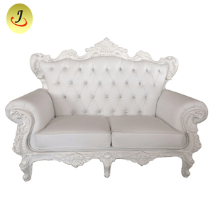 Two Seater Leather Royal Throne Sofa In White Color JC-J200