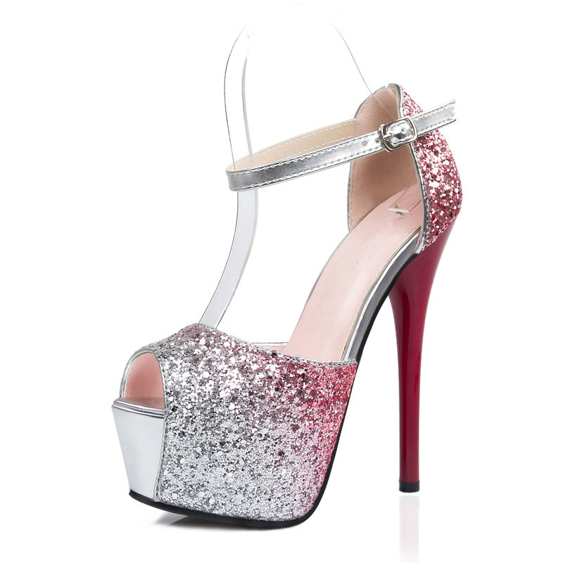 PU Leather Peep Toe Heels Gradient Glittering Pump Shoes Stock Ladies Cute Stiletto
