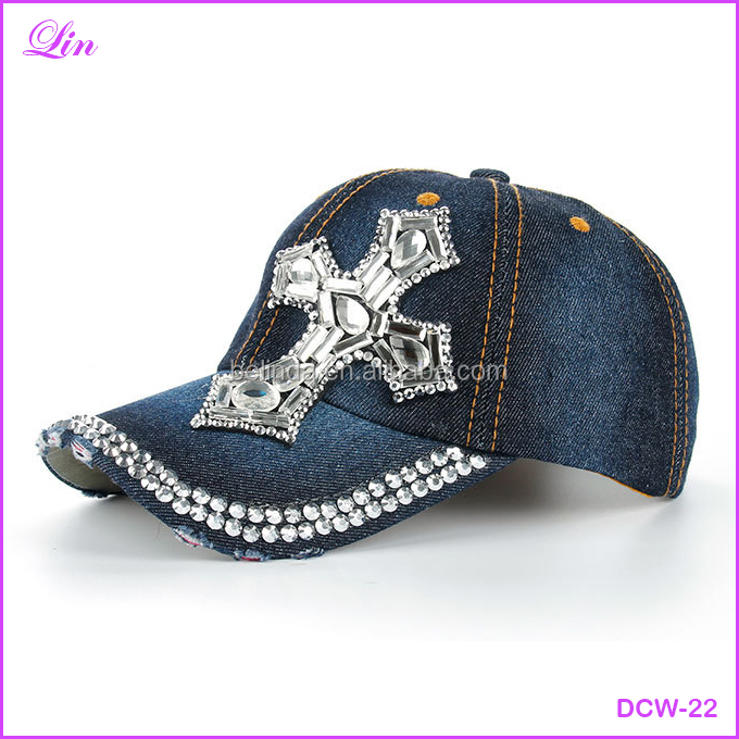Free Shipping by DHL/FEDEX/SF Cap Fashion Leisure Cross Cap Rhinestones Jean Cotton CAPS Baseball Cap