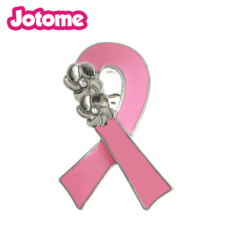 breast cancer awareness charms Jewelry clear rhinestone Heart Enamel pink ribbon Charm pendant