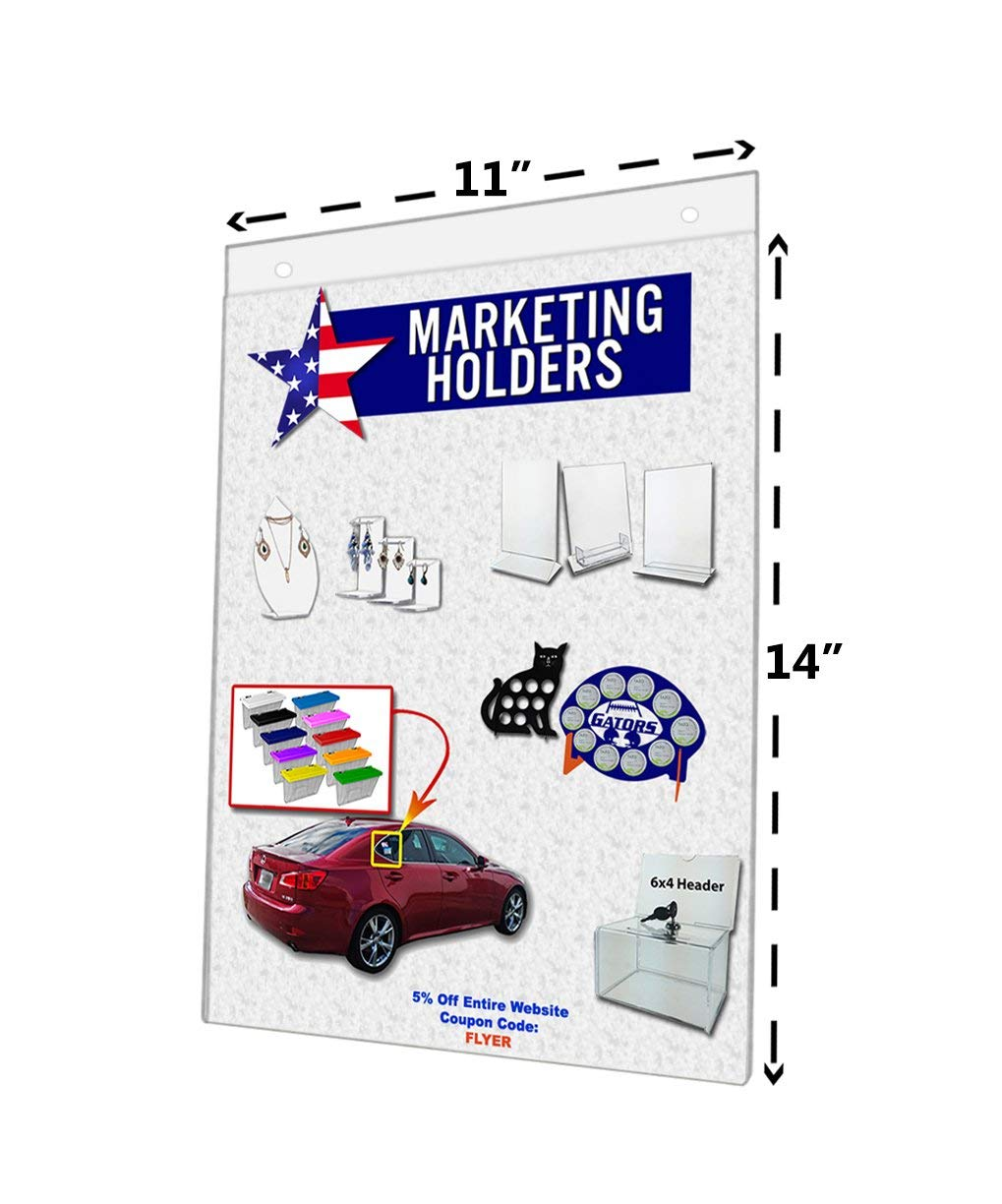 """Marketing Holders Clear Acrylic Sign Holder 11""""W x 14""""H Wall Mount Ad Frame Display (Lot of 12)"""