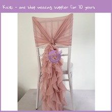YT07038 2016 Fancy Ruffled hot sale Romantic ruffle blush chiffon chair cover chiffon chair sash for wedding