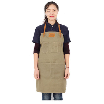 Customized denim apron waiterbelt neck workwear coffee shop apron logo can be printed