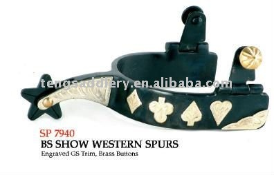 Black Steel Western Show Spurs