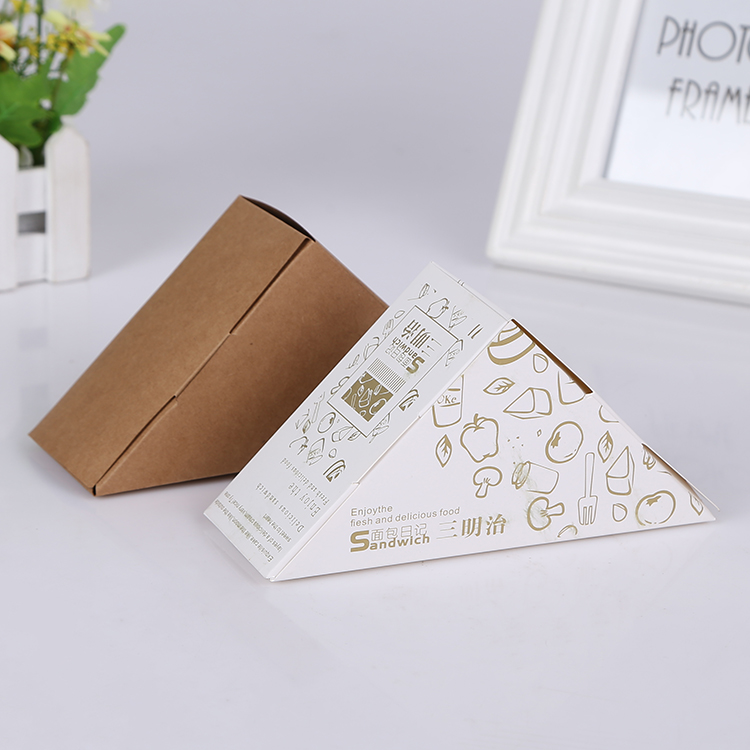 Food Safe Triangle Kraft Paper Sandwich Packaging Box With Window