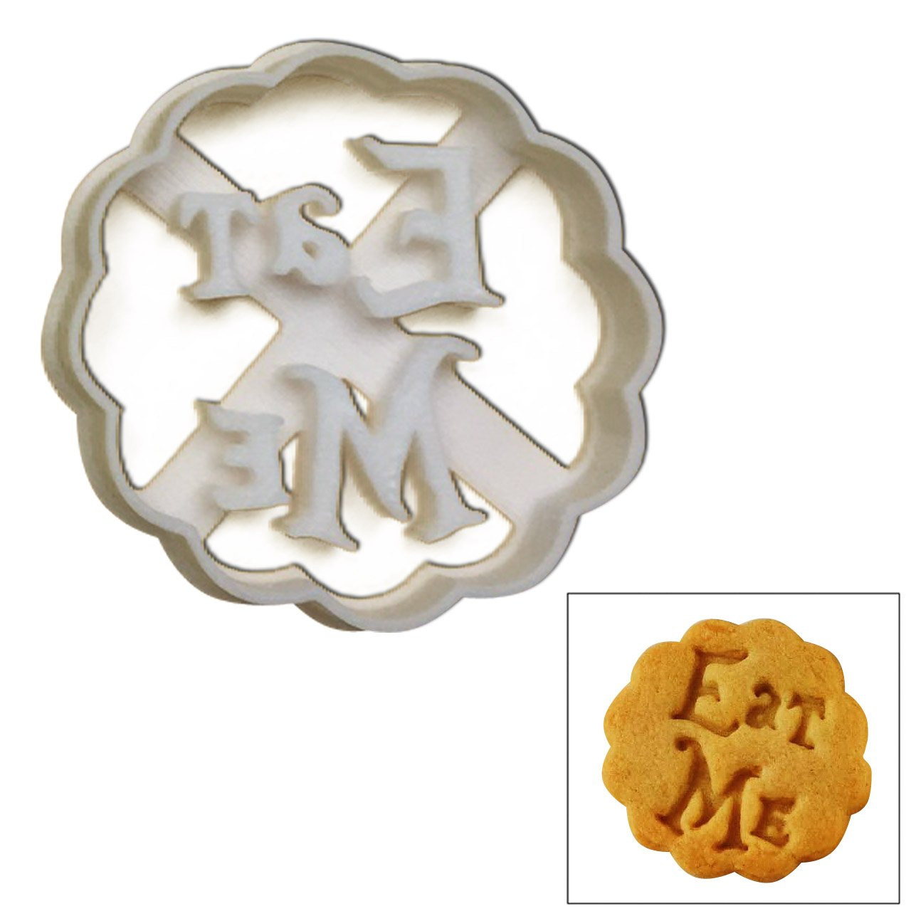 "Eat Me Cookie Cutter, 1 pc, Inspired by""Alice's Adventures in Wonderland"" novel by Lewis Carroll, Great for mad tea party, event favors, gifts and cake decorations"
