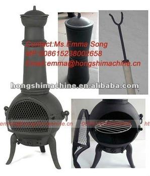 Cast Iron Wood Burning Stove Chiminea Outdoor Garden Fireplace
