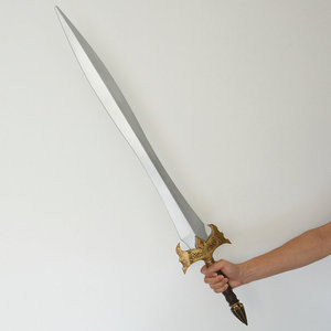 High Quality PU Foam Plastic Prop Weapon Golden Training Medieval Sword