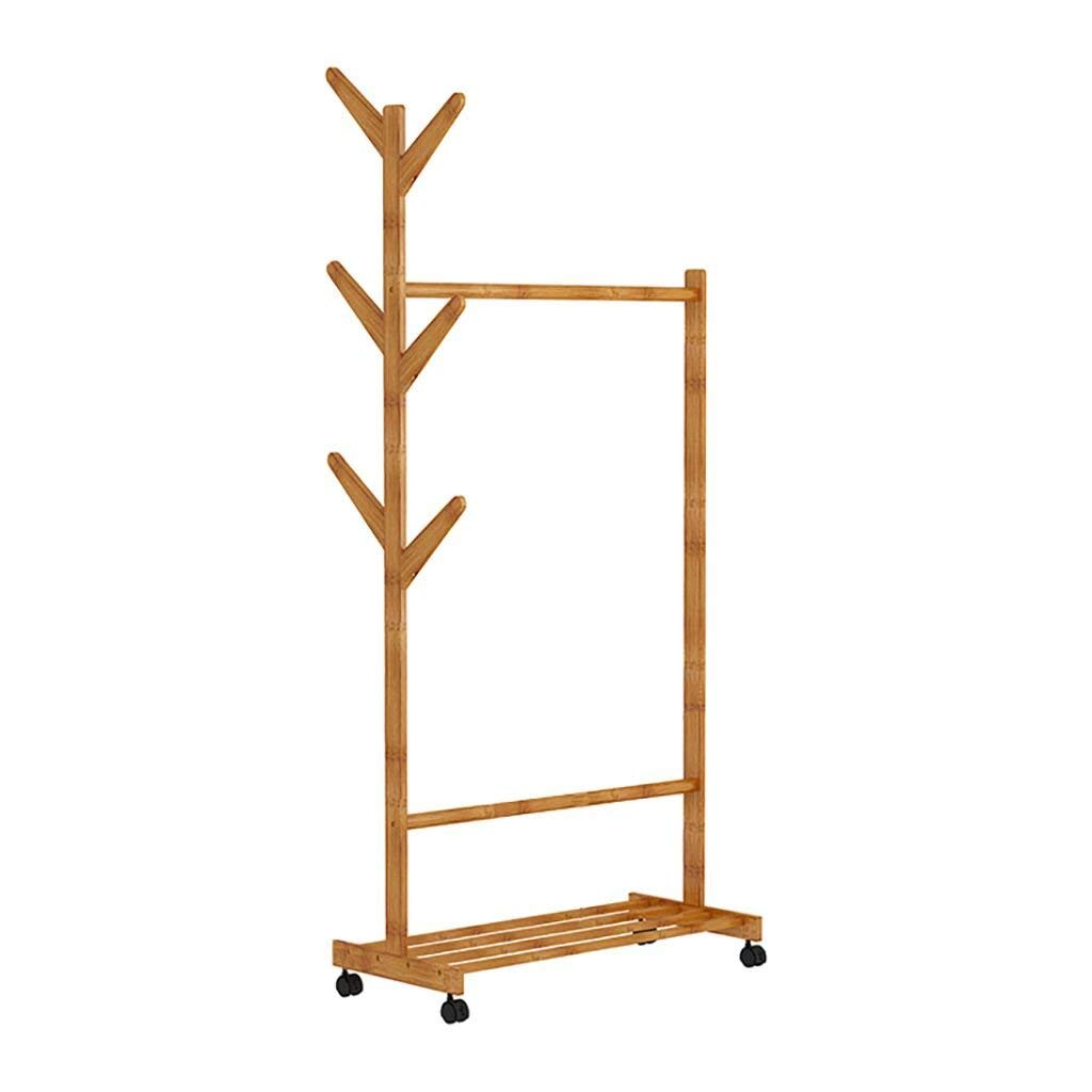 LIANGJUN Floor Standing Coat Rack Clothes Hat Bamboo Multi-function High-capacity, Wood Color, 60/70/80 35 163cm jacket scarf porch (Color : C)
