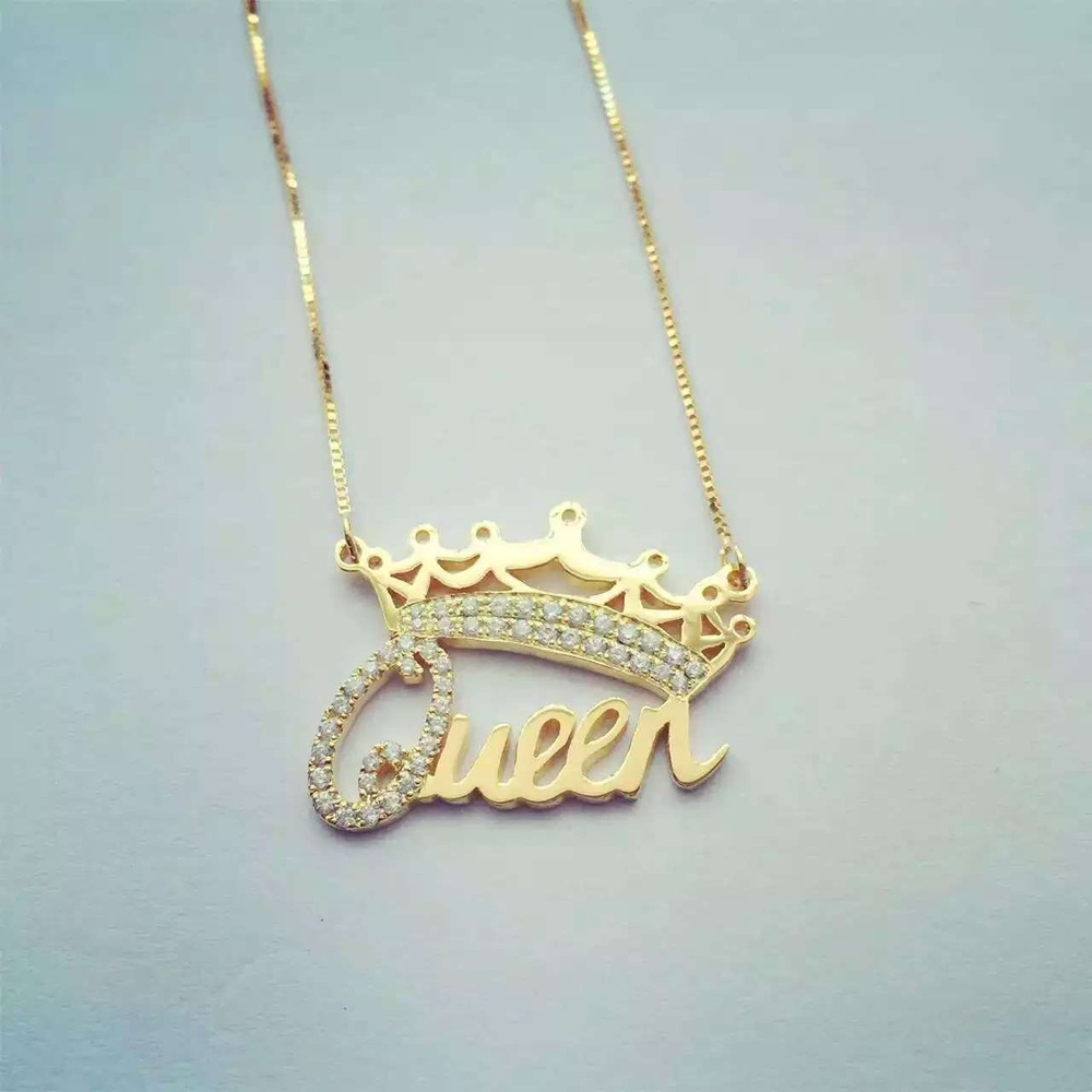14k gold filled jewelry necklace with custom pendant queen for Gold filled jewelry