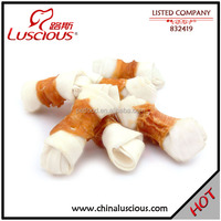 White Rawhide Knot Twined by Chicken Rawhide Chews for Dogs in Bulk