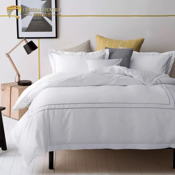 White 100 cotton embroidered hotel bedding duvet cover set