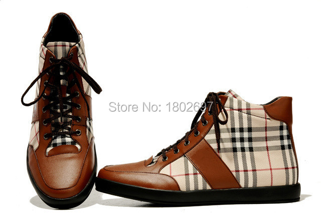 01f37190bd5 Get Quotations · Brand Plaid Men British Style High Top Shoes Fashion  Sneakers Lace Up Flat Shoes Big Yard