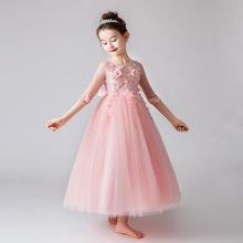 Милые Платья с цветочным узором для девочек на свадьбу, бальное платье с аппликацией из бисера и поясом, милое детское платье для причастия ...(China)