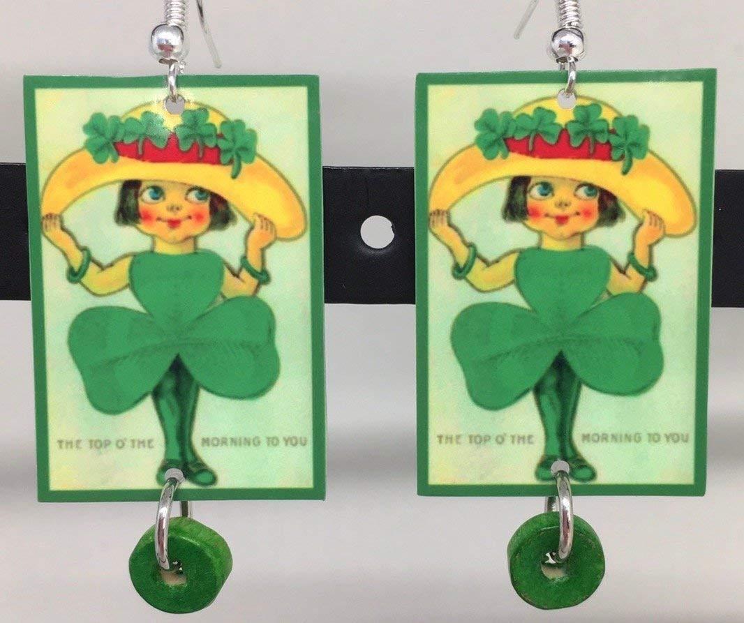 """""""Shamrock Girl"""", Irish Earrings, St. Patrick's Day, Green Shamrock Earrings, Designed by Artist, Patti Siehien, Free Shipping"""