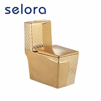 chinese factory direct price washdown wc ceramic one piece color gold toilet for sale