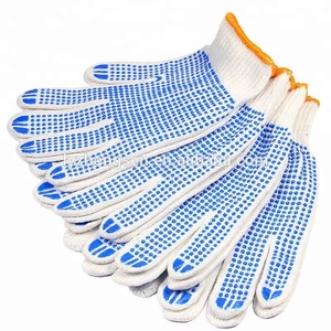 China working gloves, double side dotted cotton knitted glove white