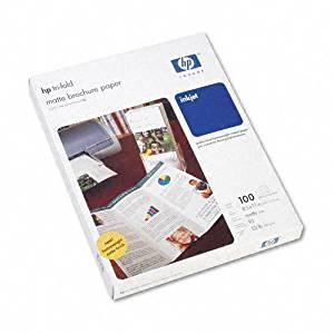 HP : Inkjet Tri-Fold Brochure Paper, Letter, Bright White Matte, 100 per Pack -:- Sold as 2 Packs of - 100 - / - Total of 200 Each