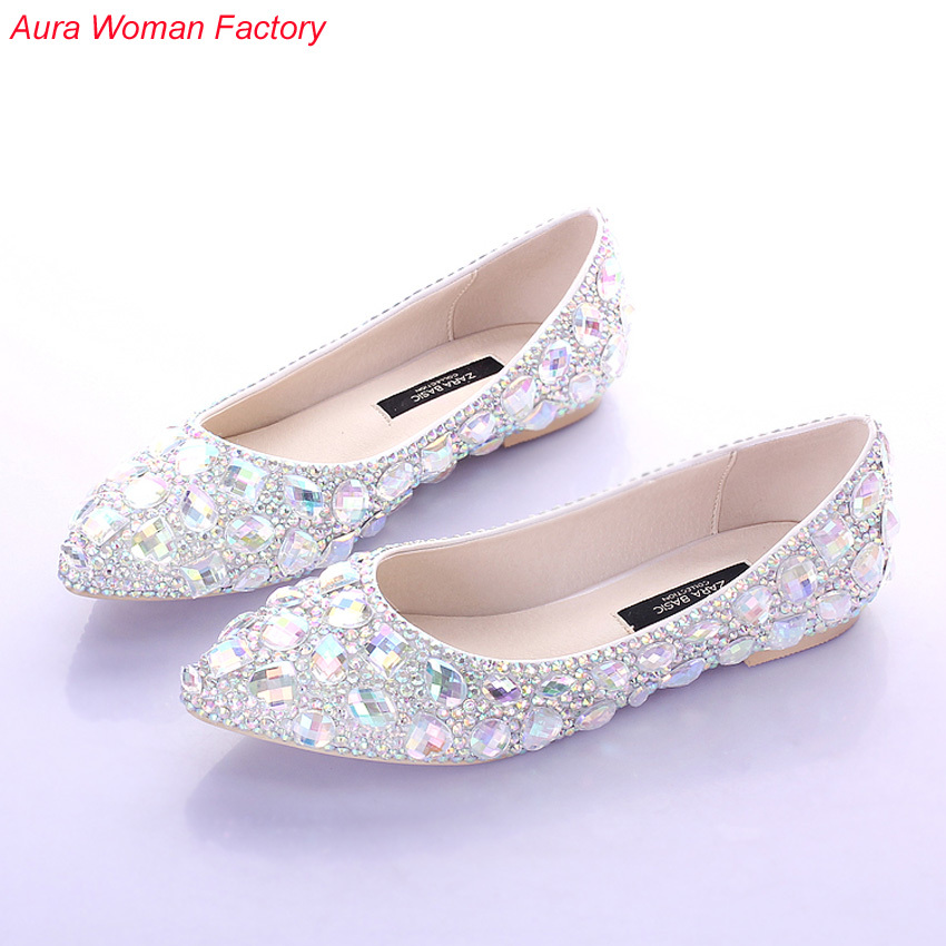 Perfect Bride Slipper Diamond Wedding Shoes Low-heeled Shoes Wedding Photographs Dress Shoes White Wedding Pointed Toe Shoes