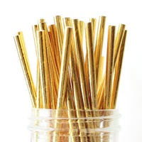 Wedding Baby Shower Bachelorette Party Anniversary Party Stratos Gold Paper Straws Gold Straws