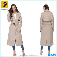 2016 Latest designs OEM ladies belted long wind trench coat for women