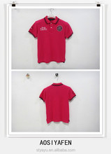 Summer personality turn-down collar badge before the bosom and letters mei red T-shirt Men and Children