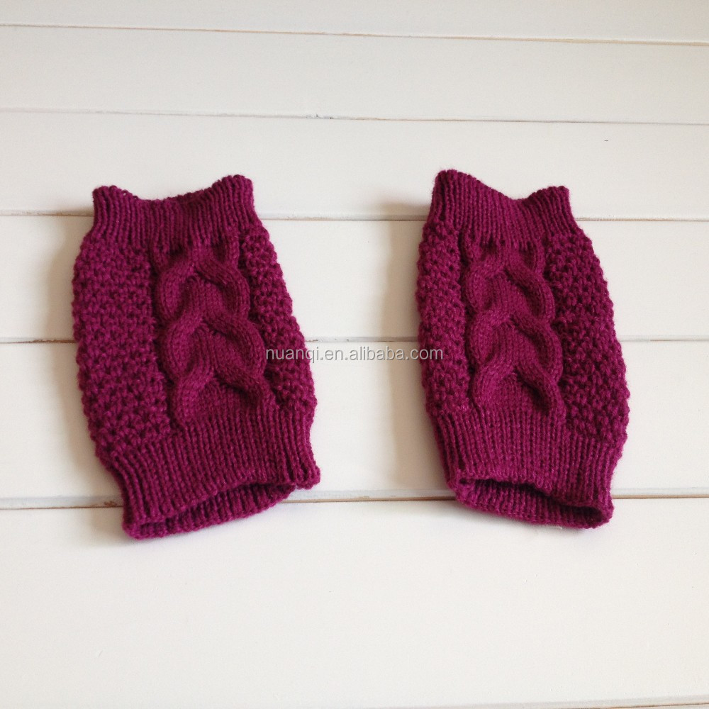 USA Popular Newest Cable Knitted Fuchsia Crochet Boot Cuffs