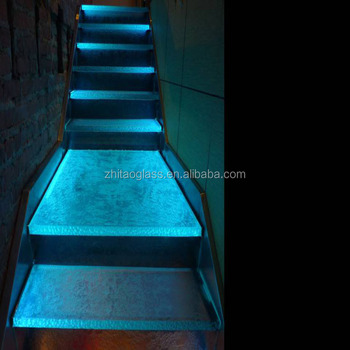 Building construction LED Stair Tempered Glass