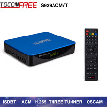 TOCOMFREE S929 ACM/T H.265 DVB-S2 satellite receiver support ISDBT ACM IKS+SKS Newcamd CCCam for south America