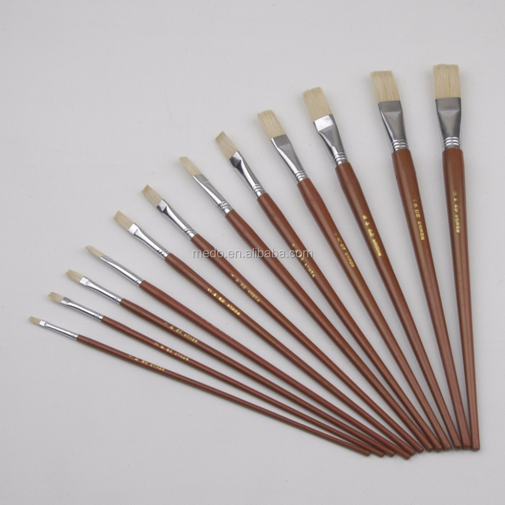 Various Type Artist Bristle Paint Brush With Long Wood Handle
