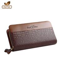 2016 new season hotsale OEM PU leather coin pocket double zipper men's wallet