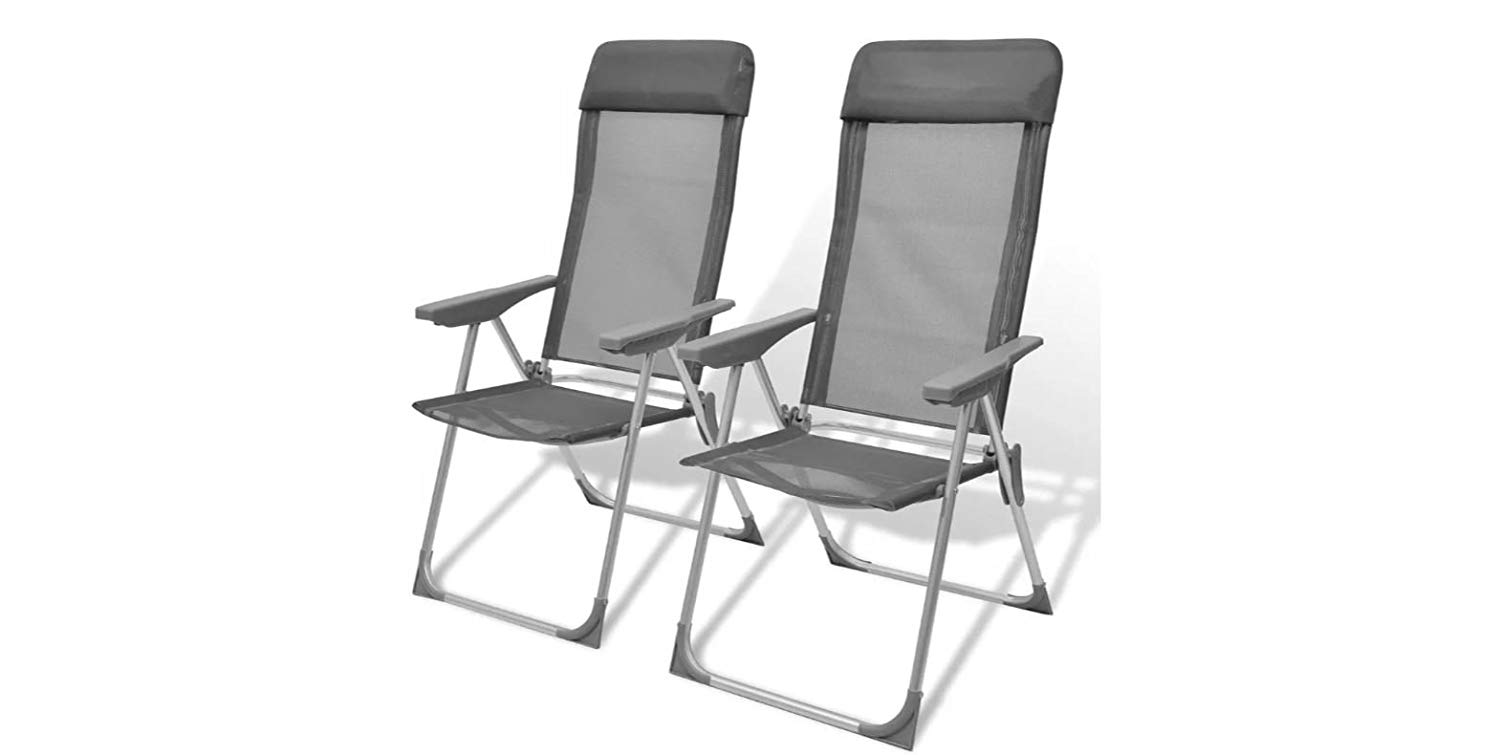 K&A Company Adjustable Camping Chairs Folding Foldable Chair Camp Outdoor Aluminum Set of 2