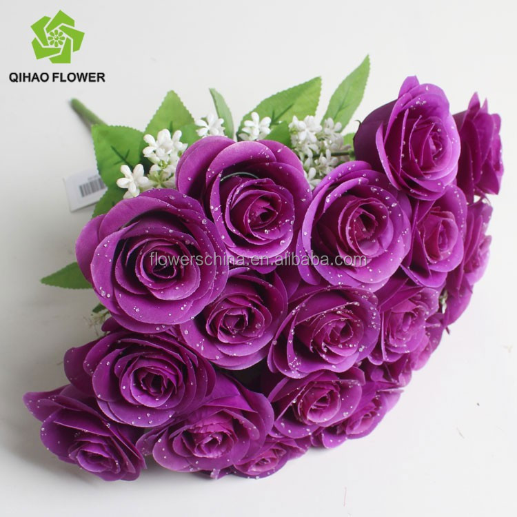gro handel k nstliche rose blumen seide bl tenbl tter f r hochzeitsdekoration qihao k nstliche. Black Bedroom Furniture Sets. Home Design Ideas