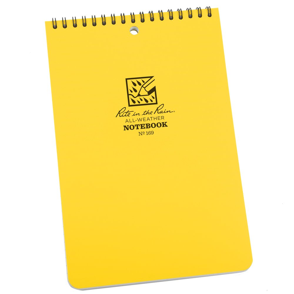 "Rite in the Rain All-Weather 6"" x 9"" Top-Spiral Notebook, Yellow Cover, Universal Pattern (No. 169)"