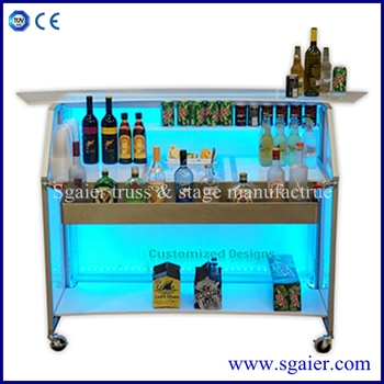 Captivating Best Selling Folding Led Portable Bar With Wheels For Club